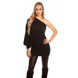 Fekete női félvállas tunika