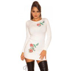 Fehér női virágmintás tunikaruha