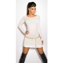 Fehér női nyomott mintás strasszköves ruha