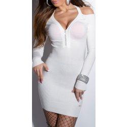 Fehér kötött női strasszköves ruha
