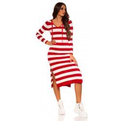Piros női  kötött csíkos ruha kapucnival