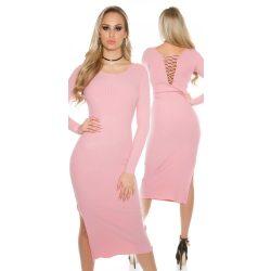 Rózsaszín női hosszú kötött ruha hátán fűzővel