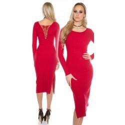 Piros női hosszú kötött ruha hátán fűzővel