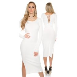 Fehér női hosszú kötött ruha hátán fűzővel