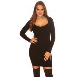 Fekete női kötött ruha strasszkövekkel