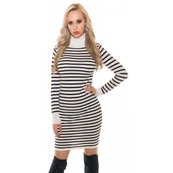 Kék-fehér csíkos női kötött ruha