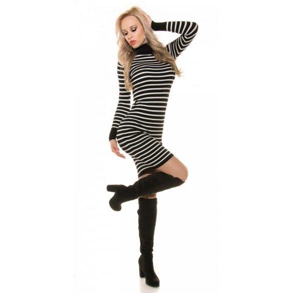 Fekete-fehér csíkos női kötött ruha