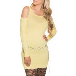 Sárga női kötött ruha vállán kivágással