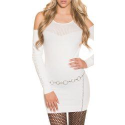 Fehér női kötött ruha vállán kivágással