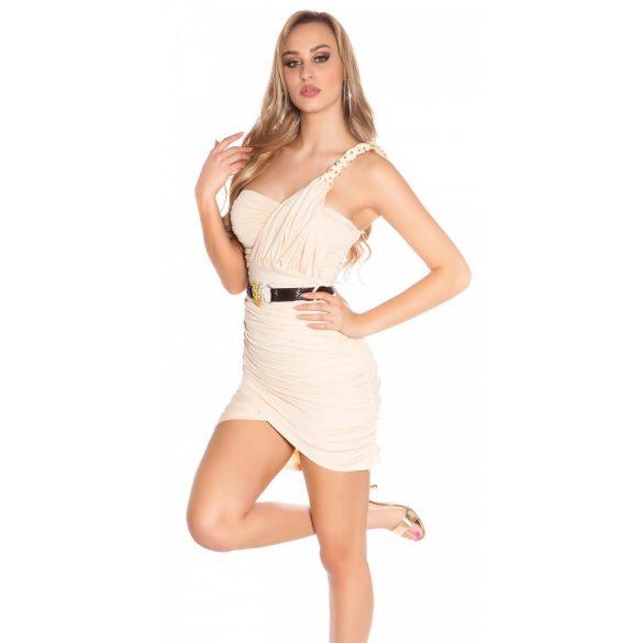 Bézs női ujjatlan ruha pánttal