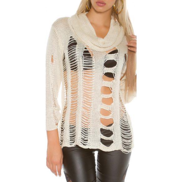 Bézs női kivágott kötött pulóver