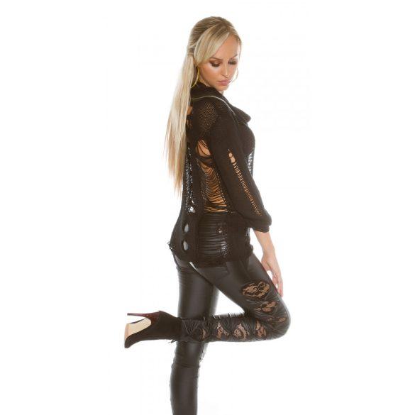 Fekete női kivágott kötött pulóver
