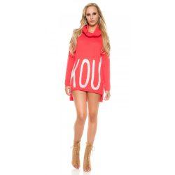 Korall női kötött pulóver strasszköves felirattal