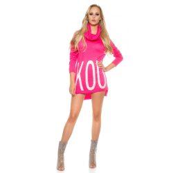 Rózsaszín női kötött pulóver strasszköves felirattal