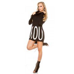 Fekete női kötött pulóver strasszköves felirattal