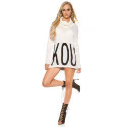 Fehér női kötött pulóver strasszköves felirattal