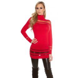 Piros női kötött elegáns pulóver tüll berakással