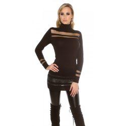 Fekete női kötött elegáns pulóver tüll berakással