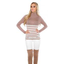 Barna női kötött csíkos garbós pulóver strasszkövekkel