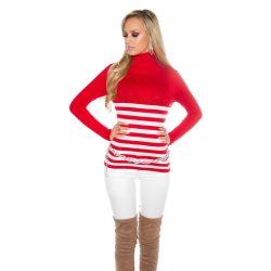 Piros női kötött csíkos garbós pulóver strasszkövekkel