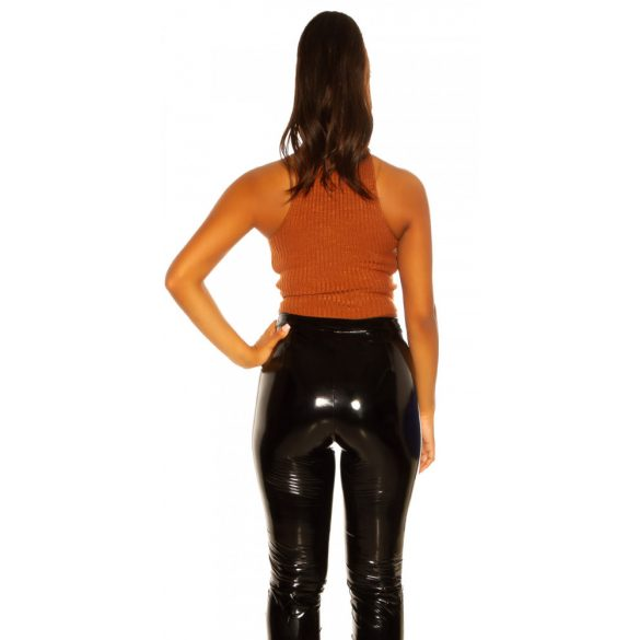 Narancssárga női ujjatlan garbó nyakú top