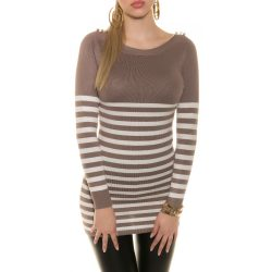Barna női kötött csíkos pulóver vállán gombokkal