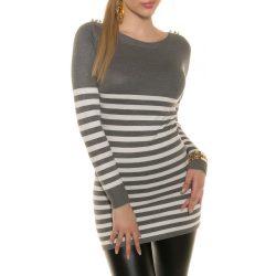 Szürke női kötött csíkos pulóver vállán gombokkal