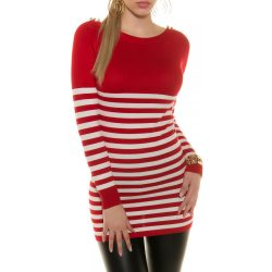 Piros női kötött csíkos pulóver vállán gombokkal