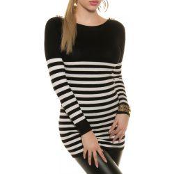 Fekete női kötött csíkos pulóver vállán gombokkal