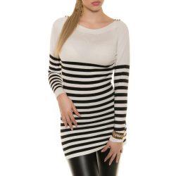 Fehér női kötött csíkos pulóver vállán gombokkal