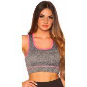 Szürke-pink női sport top