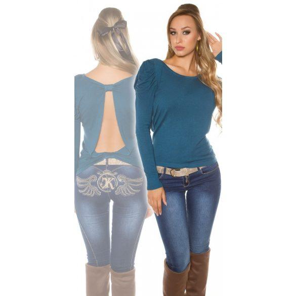 Kék női hosszú ujjú nyitott hátú felső
