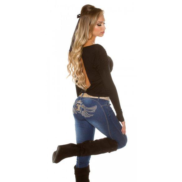 Fekete női hosszú ujjú nyitott hátú felső