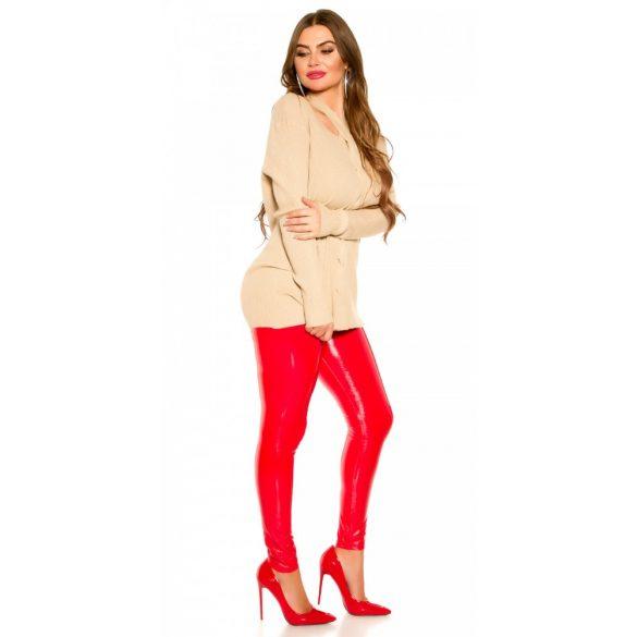Bézs kötött női pulóver