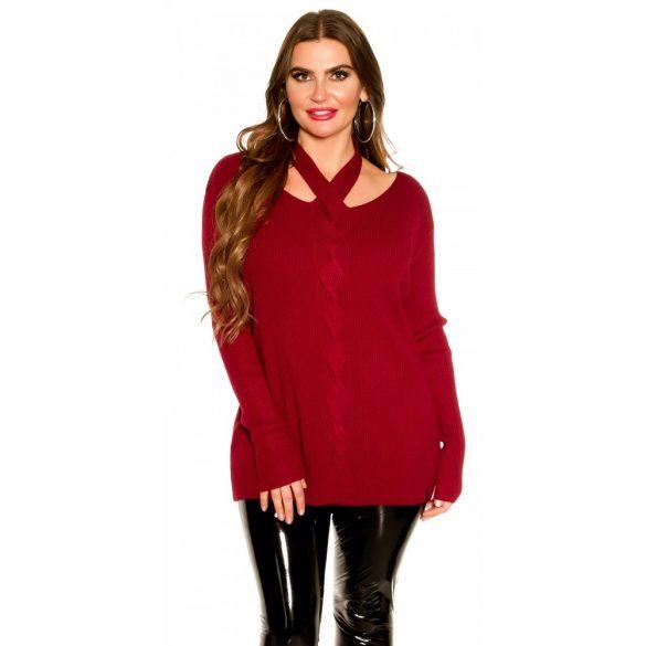Bordó kötött női pulóver