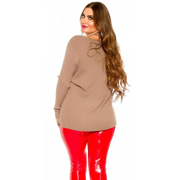 Barna kötött női pulóver