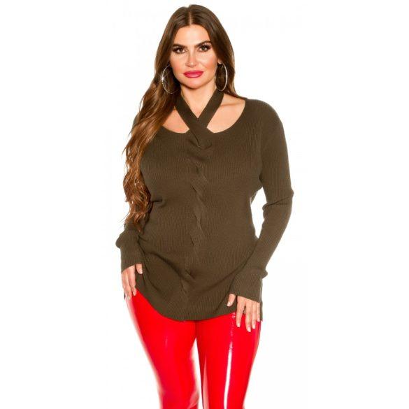 Khaki zöld kötött női pulóver