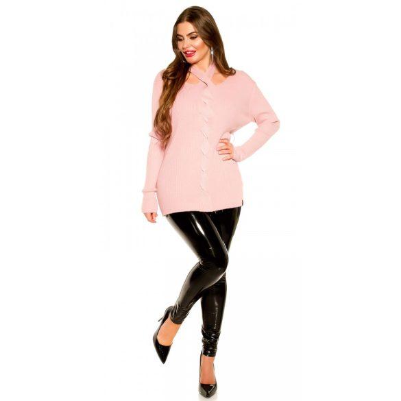 Rózsaszín kötött női pulóver