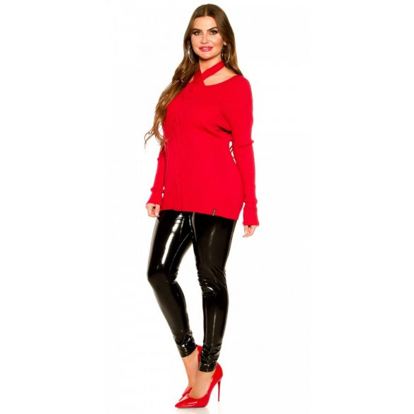 Piros kötött női pulóver