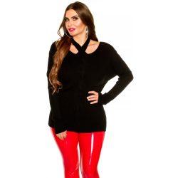 Fekete kötött női pulóver