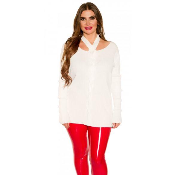 Fehér kötött női pulóver