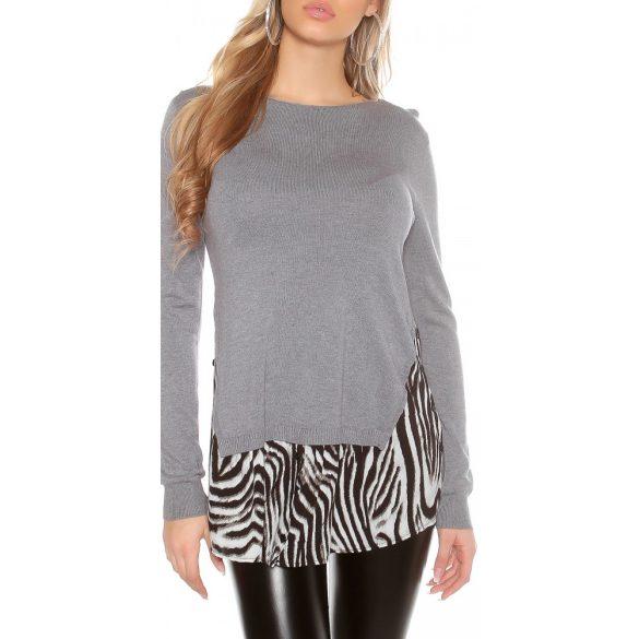 Szürke női 2 az egyben pulóver