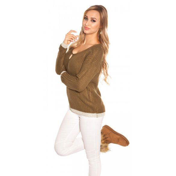 Khaki zöld női kötött pulóver