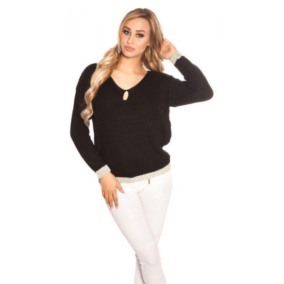 Fekete női kötött pulóver