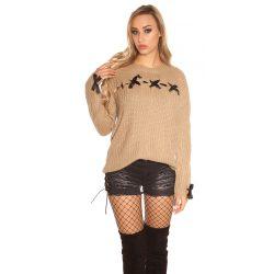 Barna női kötött pulóver selyemszalaggal
