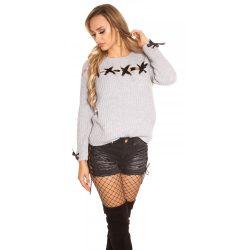 Szürke női kötött pulóver selyemszalaggal