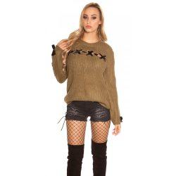 Zöld női kötött pulóver selyemszalaggal