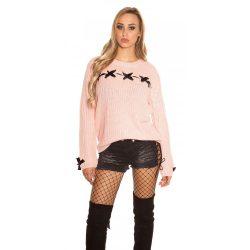 Rózsaszín női kötött pulóver selyemszalaggal
