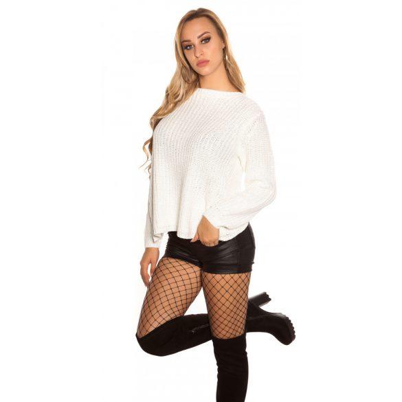 Fehér csíkos női kötött felső
