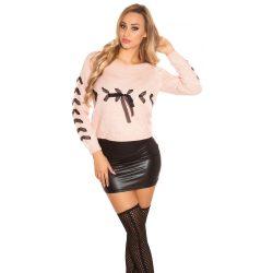 Rózsaszín női kött pulóver szalaggal